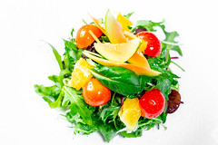 Salad with herbs, tomatoes, orange and avocado. Top view (wuestenigel) Tags: vegetable herb eating avocado basil vegan tomato spinach diet leaf arugula mix food background healthy red salad leaves plant rucola mixed lettuce natural nutrition orange closeup health green fresh chard vegetarian organic