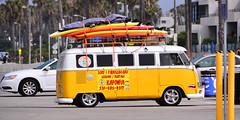 California Dreamin' (M McBey) Tags: california surfing surfboard vw camper yellow usa santamonica