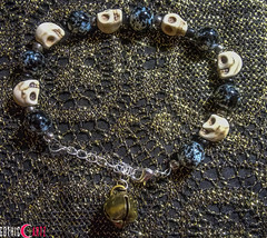 White-Skulls-With-Bells-On-Bracelet (GothicArtz) Tags: gothic skulls bracelet beaded beadwork handmade jewelry handcrafted