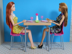 Michelle & Cassidy (BackToTheChildhood80) Tags: barbie doll mattel fashionistas red blond hair table furniture set