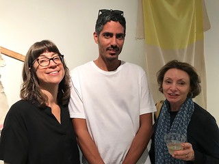 With Frances Trombly at her beautiful studio with artists Leyden Rodriguez-Casanova  and Rosemarie Chiarlone at the Oolite Studios opening