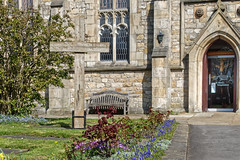 Good Friday (scottprice16) Tags: england lancashire clitheroe church stmarys stmarymagdalene churchofengland easter cross goodfriday 2019 spring colour building stone tree door outdoors april ribblevalley sony sonyrx10 wood bench seat flowers