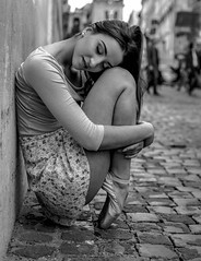 Relaxed (steveedreff) Tags: italianwoman rome italy italian brunette outdoors road cobblestone streetphotography street pointeshoes pointes pretty dance dancer sexy ballerina ballet blackandwhite beautiful