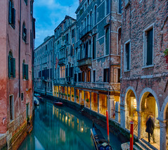 Venice at Dusk (Trey Ratcliff) Tags: hasselblad italy stuckincustoms treyratcliff venice canal dusk sunset night light yellow blue hdr hdrtutorial hdrphotography hdrphoto aurorahdr stuckincustomscom