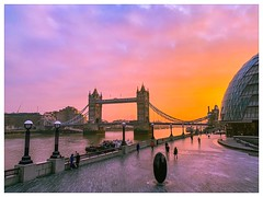 """Take 2 - """"remix"""" of one of my previous pictures (LeRouxster) Tags: tourist tourism historic streetphotography street travelphotography travel people art clouds orange pink dawn sunrise thames bridges towerbridge england uk shotoniphone mobilephotography iphoneography london"""