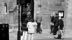 The Place To Be 02 (byronv2) Tags: edinburgh edimbourg scotland oldtown grassmarket peoplewatching candid street sunny sunlight sunshine spring blackandwhite blackwhite bw monochrome pub bar coldtown beer ale architecture building