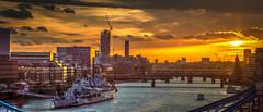 Naval museum, HMS Belfast sits in the River Thames' sunset. (hkcarmic) Tags: navalmuseum hmsbelfast riverthames london uk sunset