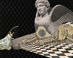sphinx's lullaby (yumikrum) Tags: yumikrum art collage surrealism ancient egypt sphinx harp music la lullaby dream fantasy magic beast calm esoterica mysterious mystic wonder midnight chess chequer
