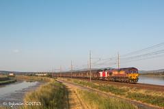 Le 483760 Rivesaltes - St Jory Regiorail derrière la  Class 66232 et la G 1206-1729 en véhicule (Sylvain COSTES) Tags: class66 g1200 vossloh bombardier etangs gruissan narbonne portlanouvelle régiorail train locomotive railway