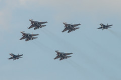 LIMA19 - 148 (coopertje) Tags: malaysia pulau langkawi lima airshow aircraft jet fighter boeing mcdonnelldouglas fa18 hornet sukhoi su30 flanker soviet russian rmaf tudm royal malaysian air force formation flying flight