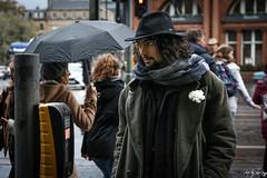 West End, Edinburgh (Cycling-Road-Hog) Tags: afterdark beard candid canoneos750d citylife colour ef50mmf18stm edinburgh edinburghstreetphotography fashion hat niftyfifty people places scarf scotland street streetphotography streetportrait style umbrella urban westend