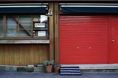 Street scenes #8 (kgymtmk) Tags: red dailysnap snap streeet garage store city osaka japan