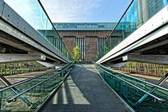 Tate Modern (Croydon Clicker) Tags: bridge ramp millenniumbridge cyclist bicycle bike rails footpath tatemodern artgallery art sky cloud london