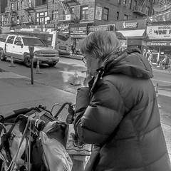 She loves to smoke on the street (Capitancapitan) Tags: smoking street photography camera pentax black white manhattan iphone apple bronx picture movie beautiful image neury luciano urim y tumim pop rock merengue bachata santo domingo dominican republic