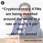 """""""Cryptocurrency ATMs are being installed around the world at a rate of nearly 9 per day."""" ― Mohsin Jameel Register below http://bit.ly/2Rig6Uu or Visit our website https://euncoin.com/ to know more!' #bitcoin #crypto #blockchain #money #ethereum #forex #b thumbnail"""