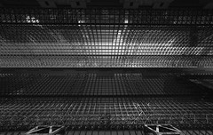 Kyoto Station 2 (Andrew Allan Jpn) Tags: station stationbuilding japan kyoto lookingup blackandwhite monochrome greyscale wideangle persepctive lowkey lines shadow light happyplanet asiafavorites