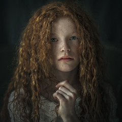 Lily ({jessica drossin}) Tags: jessicadrossin portrait face hair red curls hand pale freckles lace wwwjessicadrossincom