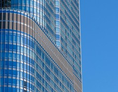 Blue on Blue (Karen_Chappell) Tags: travel usa blue abstract architecture skyscraper building glass steel windows city urban geometry geometric lines stripe curve tower chicago illinois rectangle canonef24105mmf4lisusm