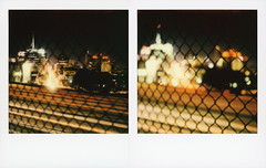 101 & Vine (tobysx70) Tags: polaroid originals color sx70 instant film sx70sonar sonar roidweek roid week polaroidweek spring april 2019 101 vine street hollywood los angeles la california ca freeway el camino real traffic cityscape neon sign night nocturnal lighttrails city lights capitol records building knickerbocker chain link fence vanishing point out of focus motion blur diptych day6 toby hancock photography