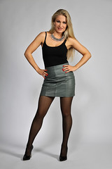 Anna 176 (The Booted Cat) Tags: sexy long blonde hair girl model woman pantyhose nylon nylons leather miniskirt jacket heels pumps highheels