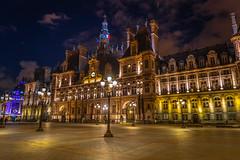 Hôtel de Ville at Night, Paris (CamelKW) Tags: 2019 paris hôteldeville night france