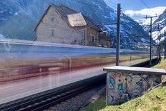 Göschenen, Uri (Toni_V) Tags: iphoneography iphone apple xr göschenen uri train zug movement motion blur alps alpen sbb cff ffs graffiti switzerland schweiz suisse svizzera svizra europe ©toniv 2019 190420