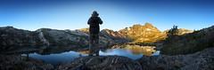 Hiker Looking over Garnet Lake Sunrise - John Muir Trail (Bruce Lemons) Tags: sierra sierranevada mountains backpacking hike hiking wilderness landscape garnetlake anseladamswilderness lake sunrise mark hiker bannerpeak mtritter jmt johnmuirtrail
