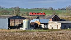 Side On (whosoever2) Tags: uk united kingdom gb great britain england nikon d7100 train railway railroad march 2019 dbcargo class90 90029 0a06 crewe wembley northamptonshire farm buildings