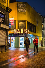 Keep Moving, Saturday Night in Inverness (johnawatson) Tags: xf35mmf14r fujifilmxpro2 inverness scotland urban street night streetphotography lowlight nightshot colour yellow restaurant fastfood saturday