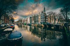 De Kloof (alowlandr) Tags: amsterdam northholland netherlands canal canalhouse boats bridge churchtower sky city historic reflection day