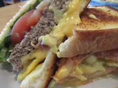 Brunch burger3 (annesstuff) Tags: annesstuff brunch burger cora brunchburger hamburger bacon egg cheese hollandaisesauce tomato lettuce potatoes toast bread omelette
