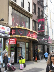 2019 Neon Sign Lady Marquee Playpen Burlesque 6431 (Brechtbug) Tags: 2019 neon sign lady marquee for playpen burlesque theater 43rd street 8th avenue looking west nyc 04202019 hell s kitchen clinton new york city taxi cab porno theaters signs striper nude woman ladies store stores window display displays fashion mannequin mannequins