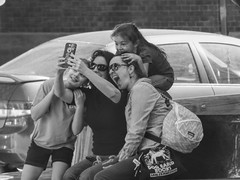 Say Cheese, 25/100X (clarkcg photography) Tags: group selfie blackandwhite blackwhite candid city streetphotography 100xthe2019edition 100x2019 image25100 fantasticmonday