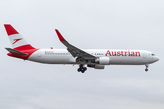 Austrian Airlines in NL arriving runway 23 (Polarjet Photography) Tags: cyyz yyz torontopearson pearsonpov torontoairport pearsonairport aviation airline aircraft plane airplane boeing boeing767 boeing767300 b767300er b767 767 767300er austrian austrianairlines aua oelae