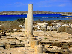 The Archaeological Site of Delos (dimaruss34) Tags: newyork brooklyn dmitriyfomenko image sky clouds skyline greece delos archaeologicalsite columns stones floor grass sea