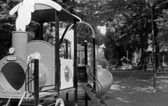 Play yard and a shrine (odeleapple) Tags: voigtlander bessa r2m carl zeiss planar 50mm neopan100acros film monochrome analog bw playground shrine