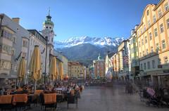 Busy street HDR (docoellerson) Tags: hdr innsbruck austria sunshine mountains alps city shoppingstreet tirol