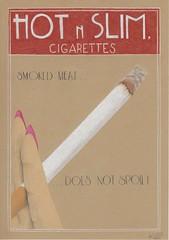 Hot n slim. (Klaas van den Burg) Tags: cigarettes advertisments colored pencils parody sarcasm humor fifties