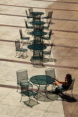 Where Is Everybody...I'm waiting... (PhotosByGLP) Tags: one person tables empty