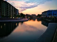 Milano (sneno75) Tags: milano milan darsena light alba red water navigli naviglio clouds nuvole