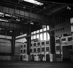Tempelhofer Feld (csobie) Tags: bronicasqa 50mmf35s fp4 ilford blackandwhite film analog scan epson v600 mediumformat 120 6x6 berlin germany tempelhof industrial