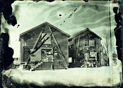 Local market square shops (Sonofsono) Tags: finland oulu ambrotype fkd glass plate wet longexposure black bw white