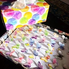 Making butterflies out of the tissue box. #craft #butterflies #papercraft #tissuebox #art #dyecut #glassinepaper (akolamble) Tags: craft butterflies papercraft tissuebox art dyecut glassinepaper