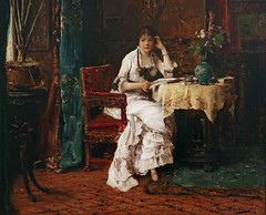 Woman Reading early by M MUNKACSY 1880 145c (Andras Fulop) Tags: szolnok hungary museum gallery exhibition painting munkacsy woman reading indoor