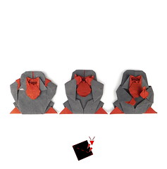not so wise (-sebl-) Tags: origami sebl monkey noevil see speak hear finger up art paper message