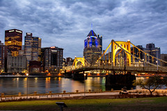 Good Morning Pittsburgh (dxd379) Tags: clouds pittsburgh pa pennsylvania bridge robertoclemente allegheny river nikon d7100 lights morning northshore longexposure