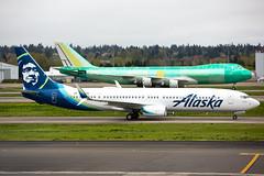 2019_04_13 KPDX stock-4 (jplphoto2) Tags: 737 737900 747 7478f alaskaairlines alaskaairlines737900 boeing boeing737 boeing747 boeing7478 boeing7478f jdlmultimedia jeremydwyerlindgren kpdx n214ak pdx portlandinternationalairport aircraft airline airplane airport avation cargo freighter travel