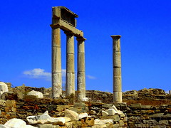 The Archaeological Site of Delos. Temple of Leto, Mother of the Twin Gods (dimaruss34) Tags: newyork brooklyn dmitriyfomenko image sky clouds greece delos archaeologicalsite columns ruins stonewalls