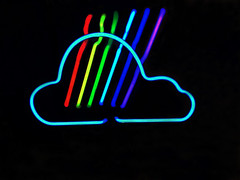 cloudy with a chance of neon (remiklitsch) Tags: neon lamp cloud lightning red blue yellow green white iphone remiklitsch la night