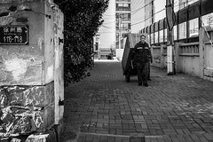 Xuzhou Lu (Go-tea 郭天) Tags: qingdao shandong républiquepopulairedechine man alone lonely fridge box delivery delivering work working duty business heavy strength alley sun sunny shadow winter cold uniform wall xuzhou lu road 116 118 pull pulling pavement wheels street urban city outside outdoor people candid bw bnw black white blackwhite blackandwhite monochrome naturallight natural light asia asian china chinese canon eos 100d 24mm prime